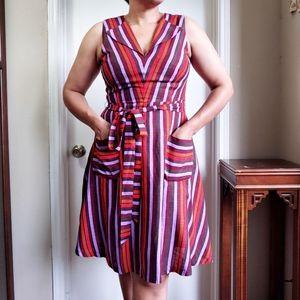 Modcloth Linen Striped Muticolor Sleeveless Dress
